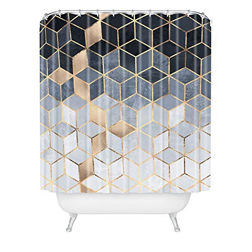 "Society6 Elisabeth Fredriksson Soft Blue Gradient Cubes 2 Shower Curtain, 72"" x 69"" x 0.1"""