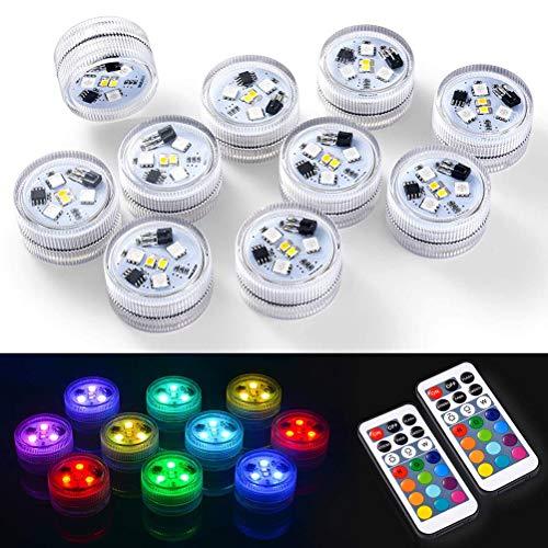 Eastleader Undervatten LED-värmeljus vattentät RGB-LED-belysning flerfärgad blixt med fjärrstyrd undervattens-LED-lampa