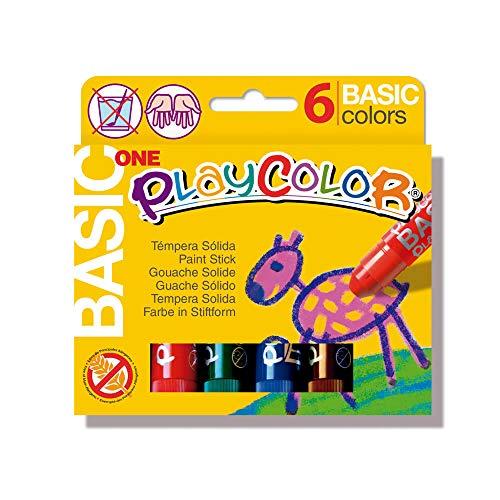 Playcolor Basic one - Tempera sólida - 6 colores surtidos - 10711 (Juguete)