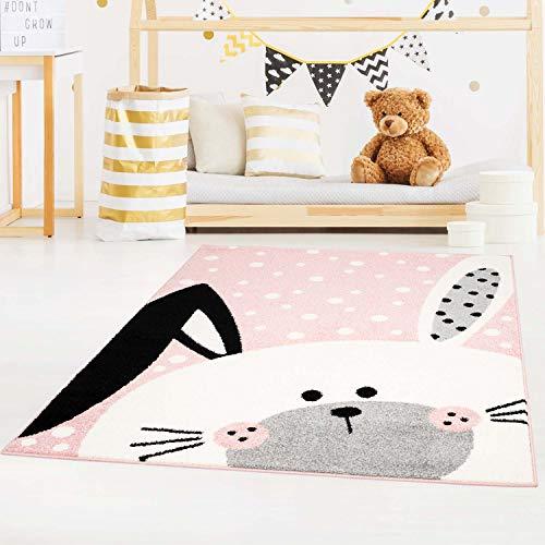 carpet city Kinderteppich Bubble Kids Flachflor Schlappohr-Hase, weiß gepunktet in Rosa für Kinderzimmer; Größe: 80x150 cm