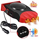JIEGOO Upgraded Car Heater, 3-Outlet Plug Adjustable Thermostat in Cigarette Lighter, 150W Auto Electric Car Heater with Cooling & Heating Function Defroster Defogger 12V