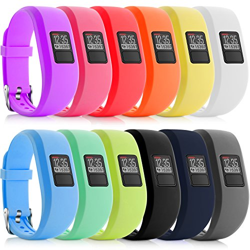 iBREK for Garmin Vivofit 3/jr/jr 2 Bands, Adjustable Replacement Wristbands with Watch Buckle for Kids Women Men(No Tracker)(12 Pack,Small(4.7-6.2 in)