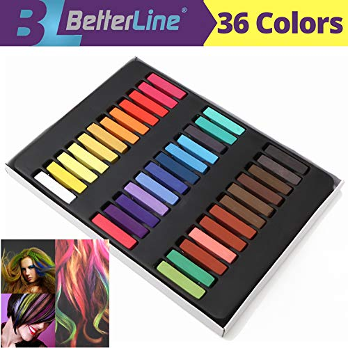 Hair Chalk Set for Temporary Hair Color for Kids, Teens and Adults - Works on Light and Dark Hair - Temporary Flair for Your Hair (36 Colors)