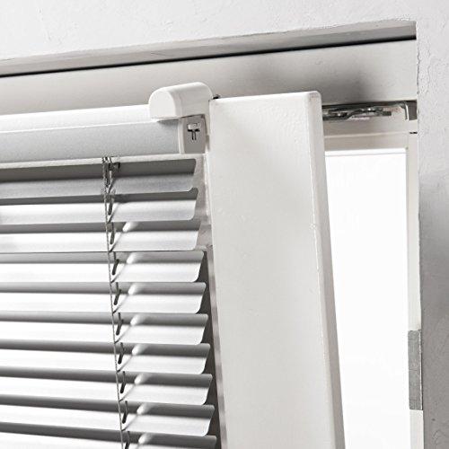 Klemmfix Alu Jalousie Plissee Aluminium Lamellen Rollo Silber Montage ohne zu Bohren 50 cm breit x 130 cm hoch stufenlos verstellbar