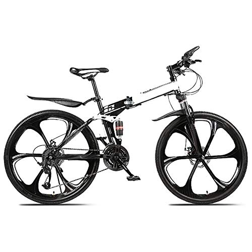 WLIXZ 24 Speed Folding Mountain Bike Bicycle 26-Inch Male and Female Students Shift Double Shock Absorber Adult Commuter Foldable Bike Dual Disc Brakes,1,21 inch
