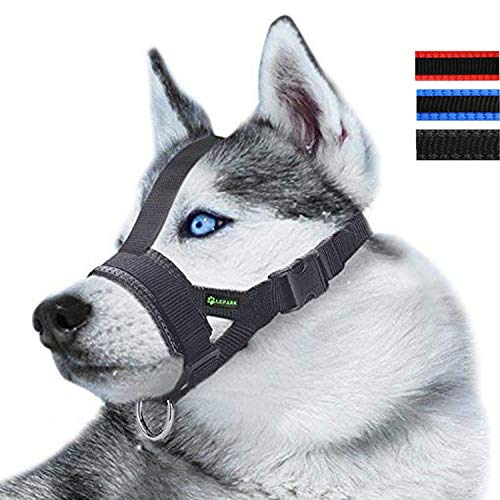 Lepark Head Strap Dog Muzzle Prevent from Taking Off by Paws for Small,Medium and Large Dogs(L/Black)