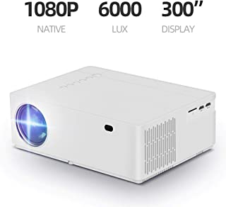 Native 1080p Projector, hmovie 4K Support Full HD Video Projector, 6000 Lux, 8000:1 Contrast Ratio, ±50° Horizontal & Vert...