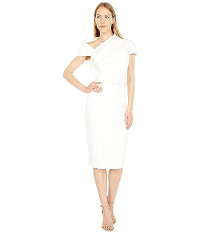 Badgley Mischka Odessa Crepe Asymmetrical Neckline Day Dress
