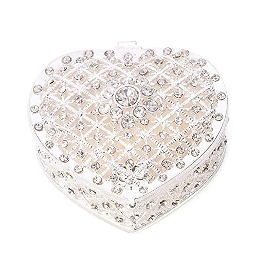 WOZUIMEI Organizador de Caja de Almacenamiento de Joyería de Aleación en Forma de Amor Dorado para Mujer Organizador de Caja de Almacenamiento de Joyería de Metal con Diamantes de Imitación Regalo de