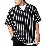 [ドムアオム] オープンカラーシャツ メンズ 父の日 ギフト おおきいサイズ カジュアルシャツ カジュアル 半袖 シャツ ゆったり おしゃれ ストライプ 開襟シャツ ブラック LL