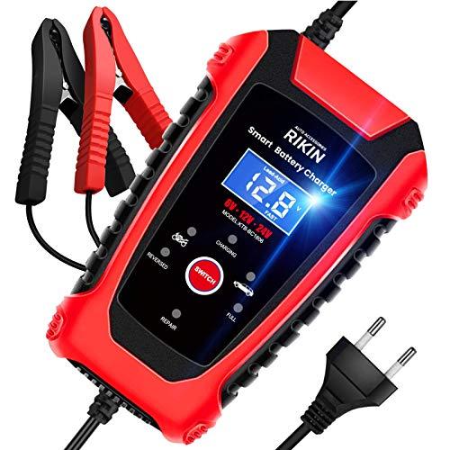 RIKIN Autobatterie Ladegeräte 6A 6V/12V/24V Vollautomatisches Intelligentes Batterieladegerät mit Mehrere Schutzschichten Mehrere Modi und LED Bildschirm für Auto und Motorrad