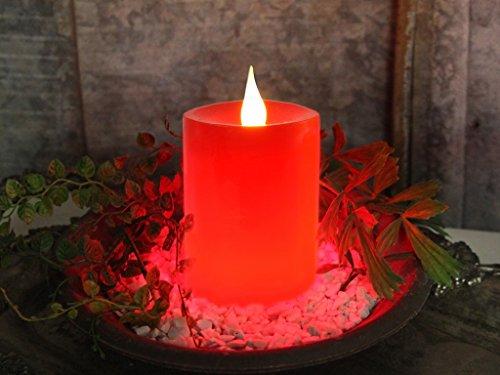 Star Bougie LED en Cire véritable avec minuterie intégrée Fonctionnement à Piles Rouge 12 x 8 cm