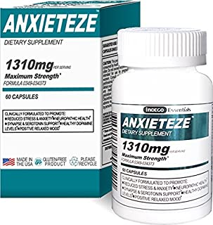 ANXIETEZE™ -Ease Stress & Anxiety- 60ct Capsules - MAXIMUM STRENGTH FORMULA (1-60ct Box) Promotes Calm & Recuperative Sleep at Night w/ Controlled Focus and Positive Mood Enhancement During the Day