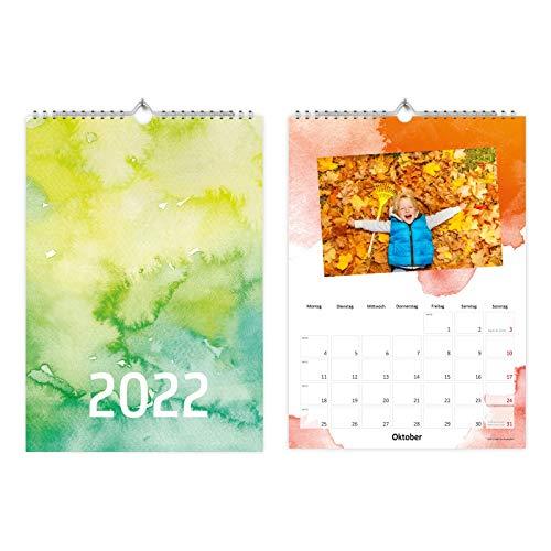 A4 Fotokalender zum selbstgestalten - Bastelkalender Kreativkalender Watercolor Wasserfarben Aquarell - mit Feiertagen 2022-1 Deckblatt + 12 Kalenderblätter