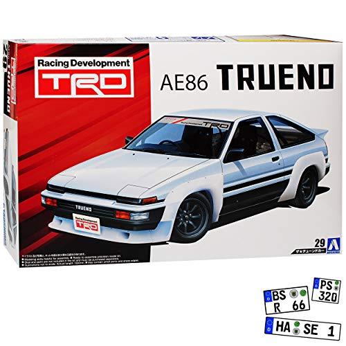 Aoshima Toyota Trueno AE86 Weiss TRD Kit Bausatz 1/24 Modell Auto mit individiuellem Wunschkennzeichen