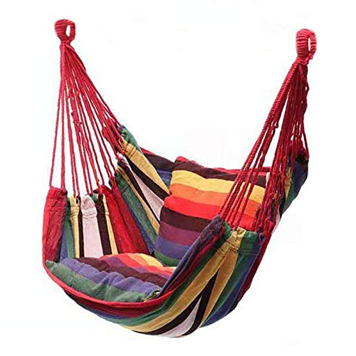Tongdejing Hanging Hammock Chair, Portable Leisure Swing Chair Rocking Chair Hanging Chair with Cushion Rope for Indoor Outdoor Beach Camping