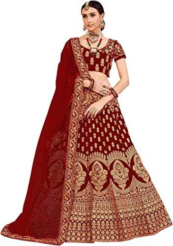 Aayan export Women's Cotton Blend Semi-Stitched Lehenga Choli with Dupatta (Kunj12_Maroon_Free Size)