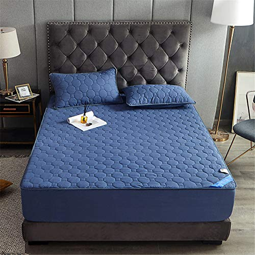 YCDZ Mattress Protective Cover, Anti-allergic, Breathable, Anti-bugs and Mites, No Odor, Suitable for All Bed Types (Round navy blue,180x200x20cm)