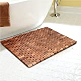 Facilehome Teak Wood Bath Shower Mat for SPA Sauna with Mutiple Silica Gel Feet 27.5X19.7X0.31-Inch