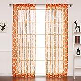 Best Home Fashion Closeout Faux Sheer Gauzy Linen Moroccan Print Curtains – Rod Pocket – Orange – 52' W x 96' L – (Set of 2 Panels)