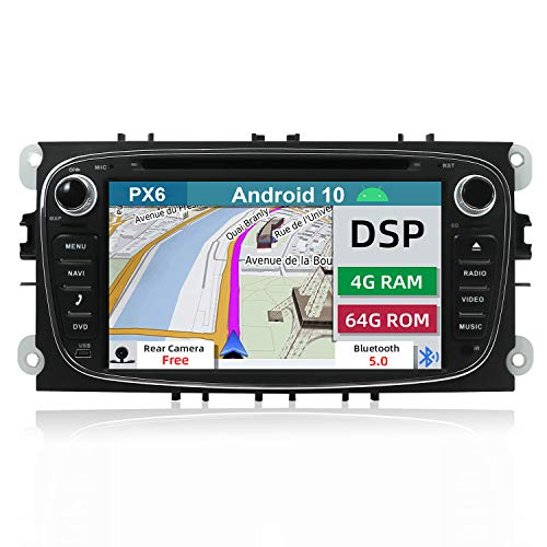 YUNTX PX6+DSP Android 10 Autoradio Adatto per Ford Focus/Mondeo/S-Max/Connect - [4G+64G] - GPS 2 Din -Telecamera Posteriore Gratuiti -Supporto DAB/Bluetooth 5.0/Controllo del volante/WiFi/HDMI/AHD