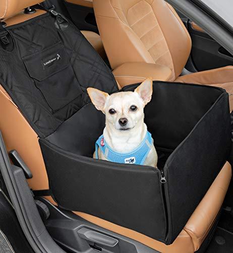 LIONSTRONG Hunde Autositz, kleine bis mittlere Hunde, Hundesitz wasserdicht, Hundedecke, geeignet für die Rückbank und Beifahrersitz +inkl Gratis Sicherheitsgurt für den Hund (Beifahrersitz)