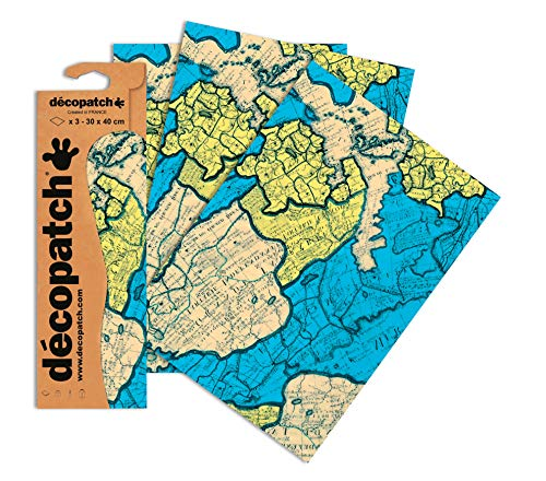 Decopatch Papier No. 691 (türkis Landkarte, 395 x 298 mm) 3er Pack