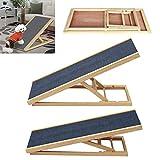 Efan Rampa para perros de 70 cm, rampa de madera maciza para mascotas, escalera de coche, altura ajustable, alfombra antideslizante