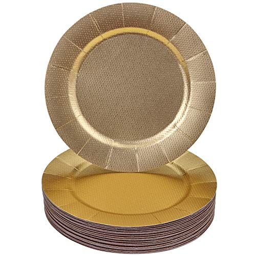 Silver Spoons Charger Plates BANDEJAS Redondas DESECHABLES-20 Unidades (Brillo - Oro), Paper