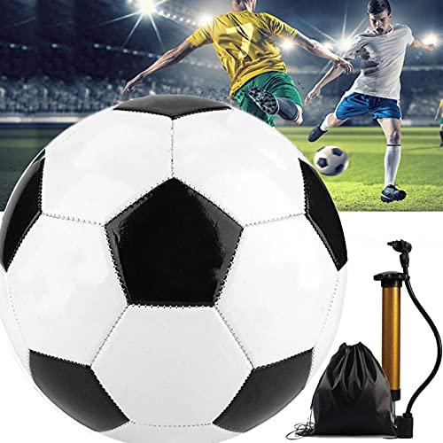 Trainingsfußball Traditionelle - OLT-EU Größe 4/5 Kinderfußball Schwarz Weiß Weicher Kinderfußball Mit Aufbewahrungstasche und Luftpumpe für Indoor Outdoor Übung Team Training (Size:5 (8.2in))