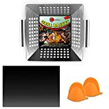 Heavy Duty Stainless Steel Vegetable Grill Basket for Outdoor Grill - Kabob Grilling Baskets - BBQ Veggie Grill Pans for Outdoor Grill - Veggie Grill Baskets with Handle - Bonus Grill Mitt, Grill Mat