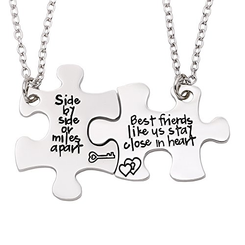 Melix Home Friendship Necklace for 2 Side by Side Best Friends Close in Heart Necklace Set