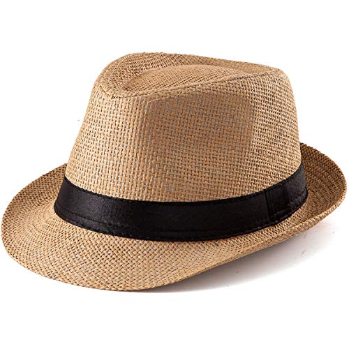 Straw Hat for Women Men - Summer Khaki Fedora Hat with Band Sun Hat for Travel