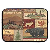 Laptop Case Rustic Lodge Bear Moose Deer Computer Handbag Portable Pouch Bag Anti-Static