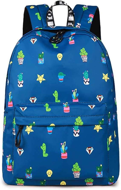Taweo Ladies 16.8L Backpack Potted Plant Printing Zipper Casual School Bag for Women Waterproof blueee (color   1)