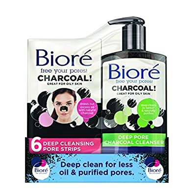 Biore Charcoal Face Cleansing Kit: Pore Strips and Cleanser, 200 ml