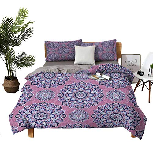 Purple Wrinkle-free breathable refreshing refreshing to the touch luxurious cotton 3-piece set Middle Oriental with Ornamental Featured Lines Suitable for any bedroom or guest room King(104'×90') Pil