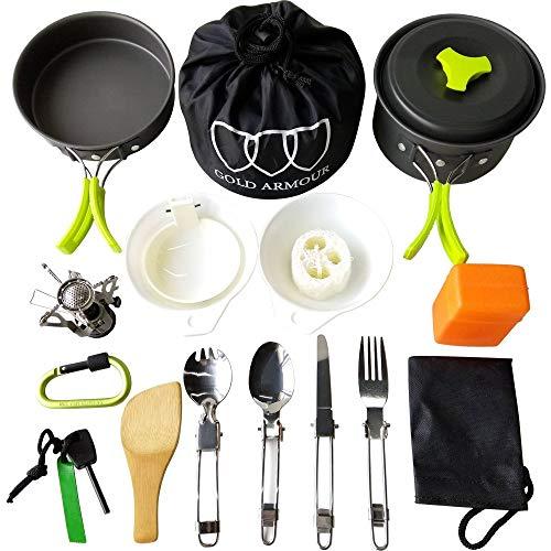 Gold Armour 10-17Pcs Camping Cookware Mess Kit Backpacking Gear & Hiking Outdoors Bug Out Bag Cooking Equipment Cookset   Lightweight, Compact, Durable Pot Pan Bowls (Green, 17pcs)