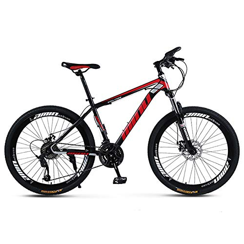 TOPYL High-Carbon Steel Mountain Bicycle with Front Suspension,Lightweight Dual Disc Brake Mountain Bikes,Adult Mountain Bike Black and Red 26',27-Speed