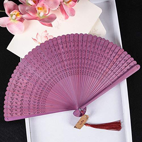 LDYGRattanArt Handfächer,Chinease Japanische Hand Geschnitzten Durchbrochenen Folding Fan Lila...