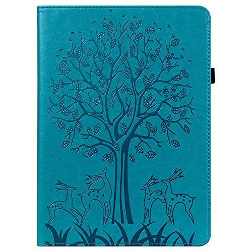 JIan Ying Custodia per Samsung Galaxy Tab S6 Lite SM-P610 P615 Tablet Sottile Moda Albero e Cervo Protector Cover Blu