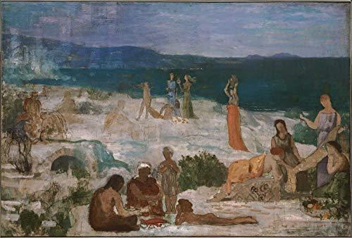 Pintura de diamante redonda completa Pierre Puvis De Chavannes famosa pintura massilia, colonia griega punto de cruz decoración del hogar bordado de diamantes dibujos animados mosaico arte