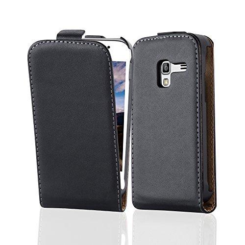 Cadorabo Custodia per Samsung Galaxy Ace Plus in Nero Carbone - Protezione in Stile Flip di Similpelle Fine - Case Cover Wallet Book Etui