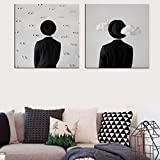 HAIBAOSMS Cartel Sombrero Cuadros traseros Pinturas Pintura abstracta sobre lienzo Decoración para el hogar Arte de la pared Espalda Artística Decoración del hogar-no_frame_40x40cm_2_PCS