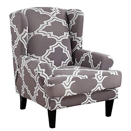 YWTT Funda para sillón de Orejas Fundas de sofá Suaves elásticas universales elásticas Fundas de sillón de Orejas de 2 Piezas con Brazos extraíbles Fundas para Muebles Protector de Muebles (Gris)
