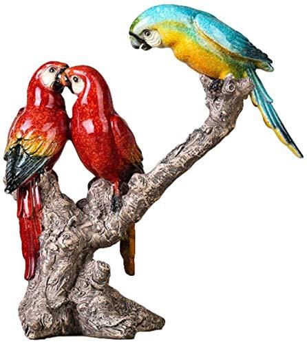 Estatuas Figuritas Decoración Escultura De Loro Resina Esmaltada Pájaro Periquito Estatua Amantes Ornamento Decoración De La Habitación Accesorios Colección De Arte Artesanía