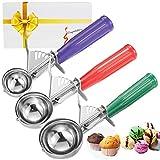 CHEE MONG Conos de Helado, Cookie Cuchara melón Baller con Disparador para Frutas, Helado Cuchara de Acero Inoxidable scoopers- Elegante Paquete de Regalo (Green Red Purple)
