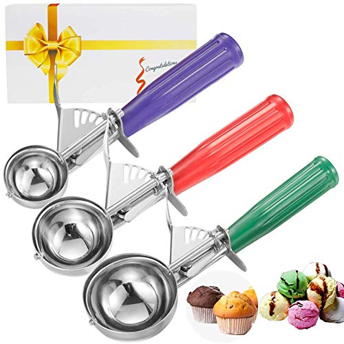 3 SPOON SIZE: Our cookie scoop can produce different sizes of fruit balls. We have red ice cream scoop, purple cream scoop, green ice cream scoop with these cookie scoopers to meet your needs. Ideal Xmas Christmas gift for dear friends & families. VA...