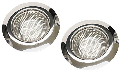 Keeney K820-33 - Colador de desagüe para fregadero de cocina (2 unidades, acero inoxidable, borde ancho, 11,4 cm de diámetro) (grande), tecnología antiobstrucción (2 piezas)