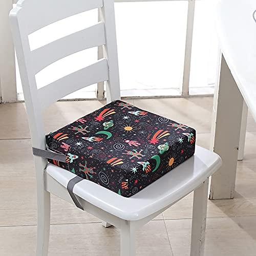 MJLOMJ Rialzo Sedia per Bambini Portatile Panno Oxford Lavabile Rialzo per Sedia da Pranzo Antiscivolo Rimovibile Cuscino per Tavolo da Pranzo per Bambini con Fibbia di Sicurezza,Altezza 8 cm,C